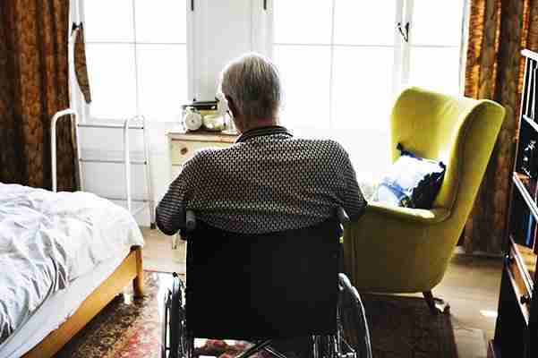 nassau-county-personal-injury-lawyer-elderly-man-in-wheelchair-alone-in-bedroom